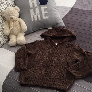 Gymboree Boys Brown Hooded Cardigan 4T Sweater